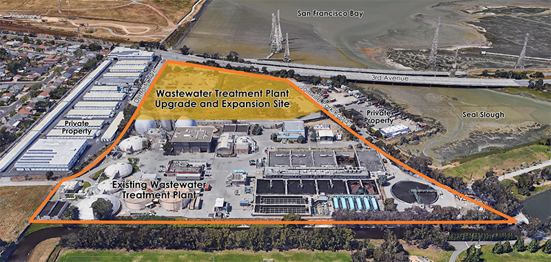 Aerial view of the WWTP footprint