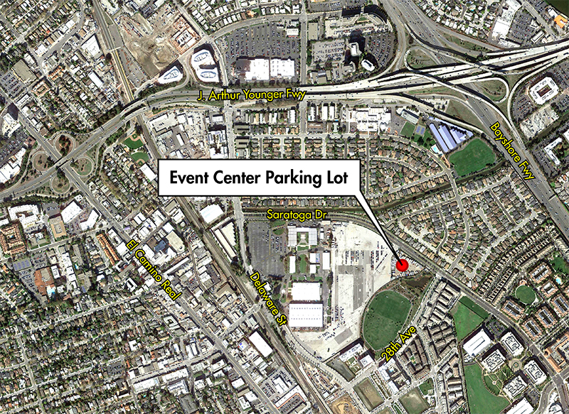 Map showing the Event Center Parking Lot as the chosen location for the Underground In System Storage.
