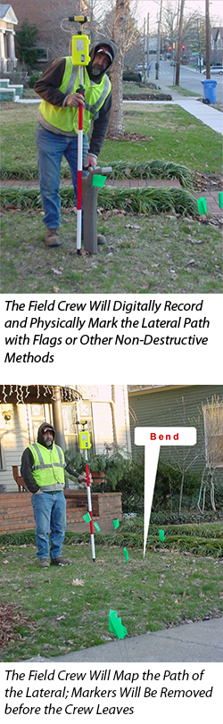 The Field Crew Will Digitally Record and Physically Mark the Lateral Path with Flags or Other Non-Destructive Methods. The Field Crew Will Map the Path of the Lateral; Markers Will Be Removed before the Crew Leaves.