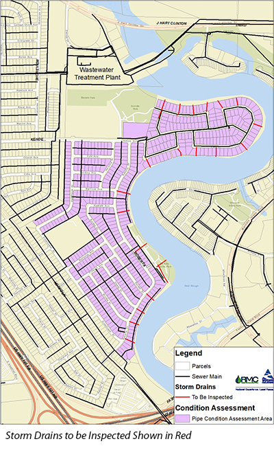Storm Drains to be Inspected Shown in Red