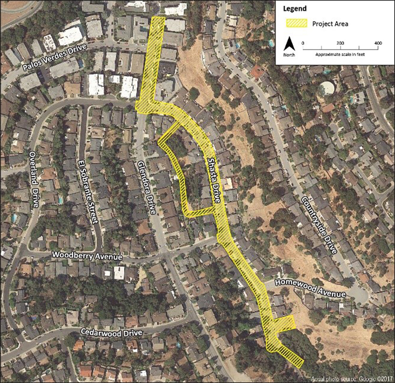 Map of Glendora/Shasta sewer relief work project area.