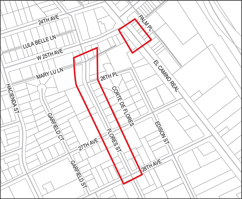 Map of Hacienda/Flores Relief Sewer (SST-5)