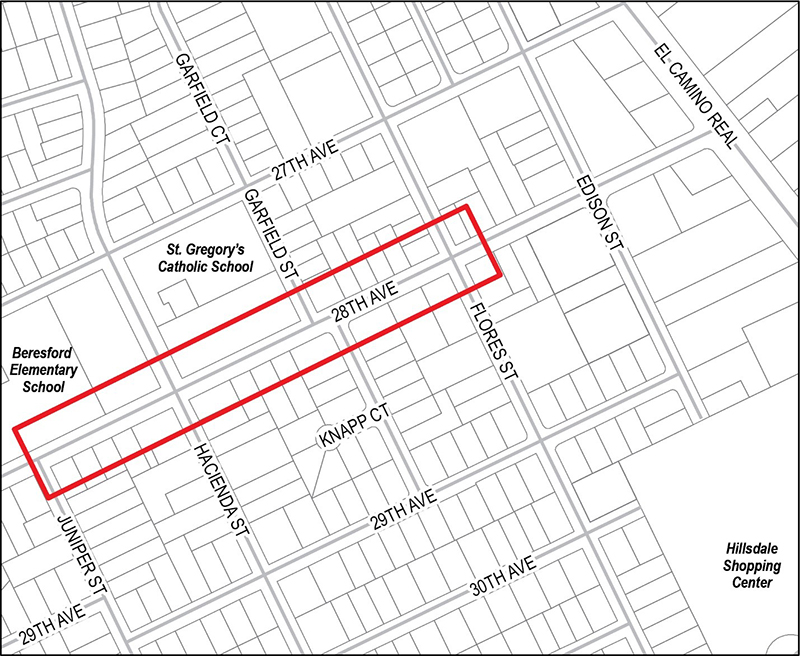Map of 28th Ave Relief (SST-9)