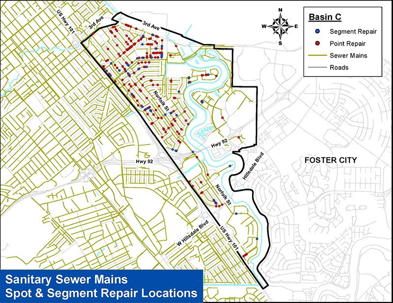 Map of sanitary sewer mains spot and segment repair locations