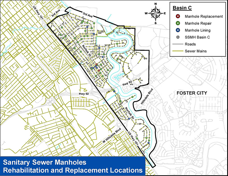 Map of sanitary sewer manholes rehabilitation and replacement locations