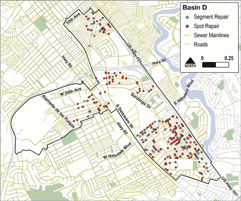 Map of Gravity Sewer Spot Repairs and Replacements