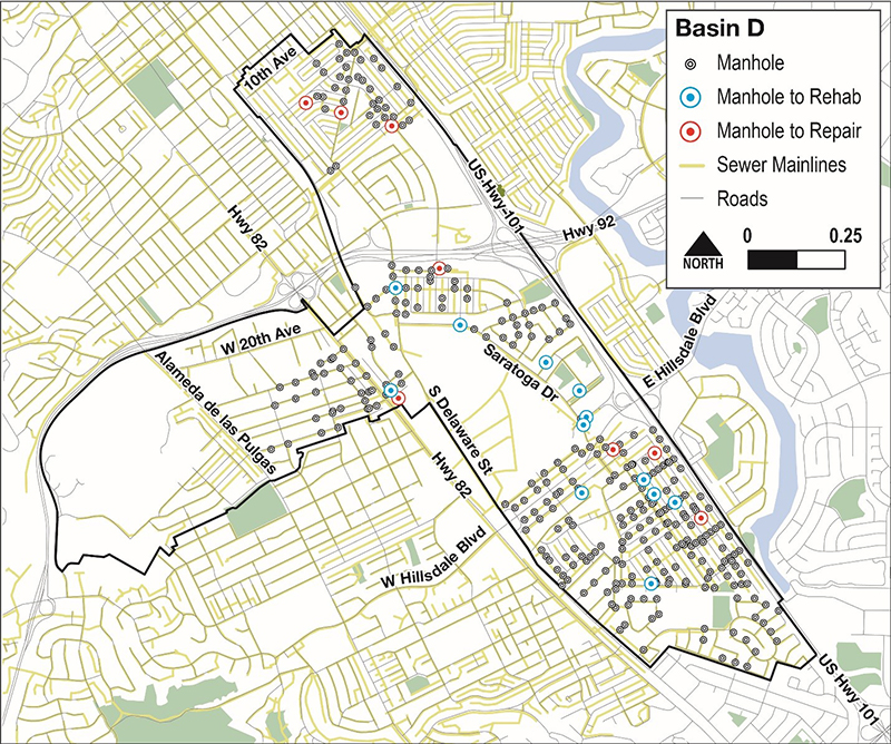 Map of Manhole Repair and Replacement Locations