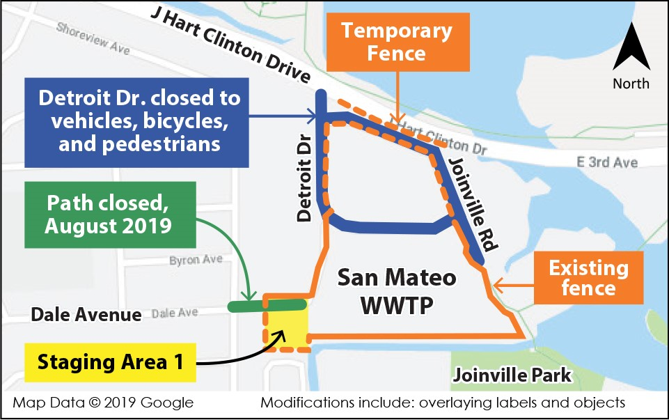 Map of Construction-related Changes around the Wastewater Treatment Plant