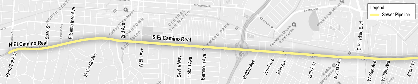Map of El Camino Real Sewer Pipeline.