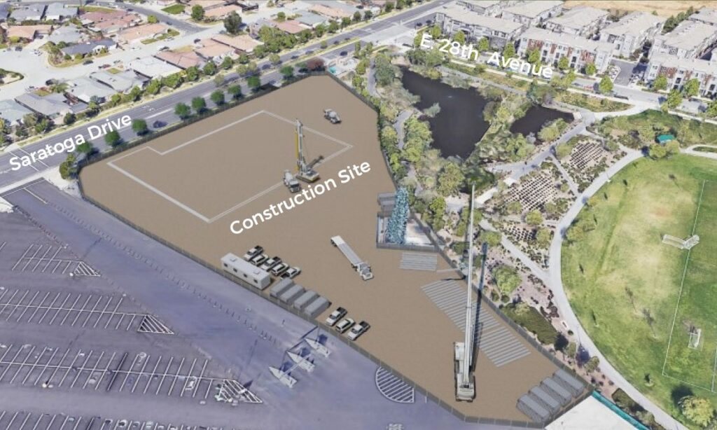 Artist rendering of construction site at Event Center where activities will begin