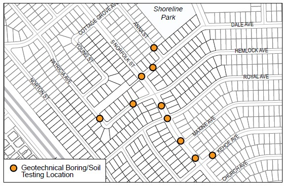 Map of geotechnical boring locations