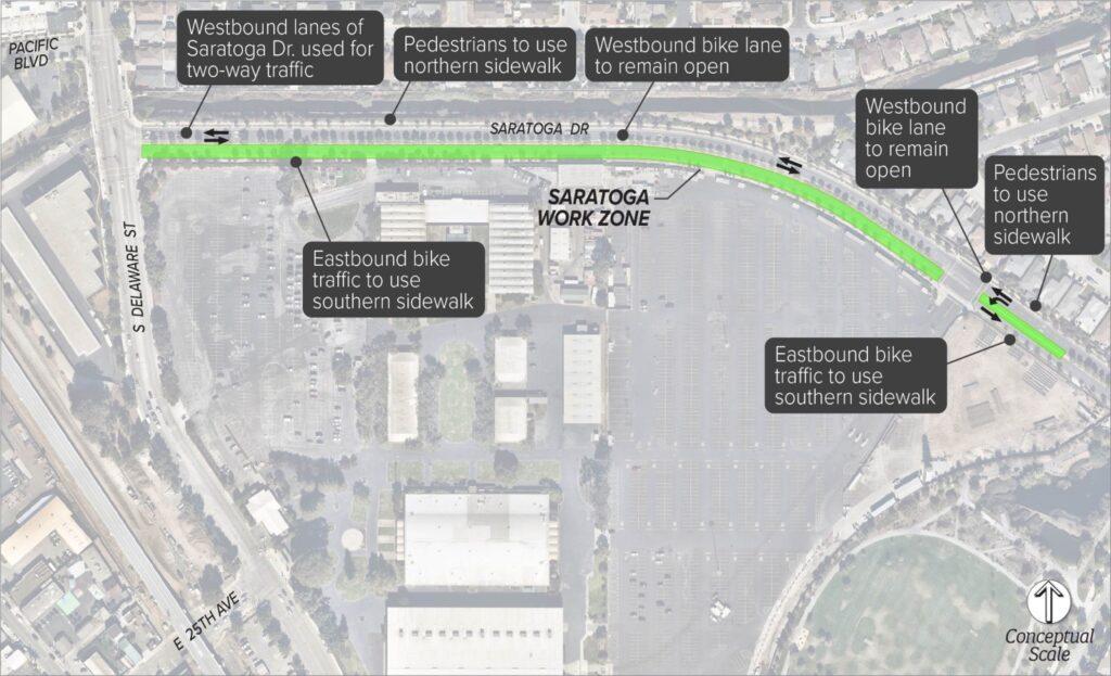 Map of Saratoga Work Zone
